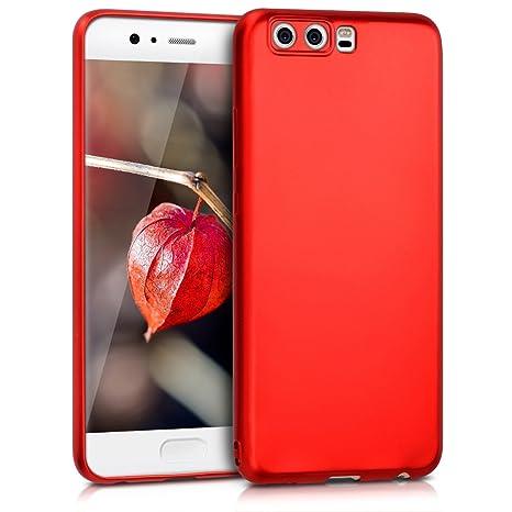 kwmobile Funda para Huawei P10 - Carcasa para móvil en [TPU Silicona] - Protector [Trasero] en [Rojo Oscuro Metalizado]