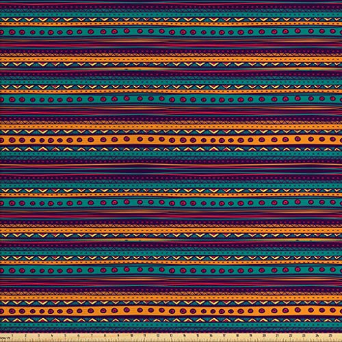 (Ambesonne Tribal Fabric by The Yard, Striped Retro Pattern with Rich Mexican Color Folkloric Print, Decorative Fabric for Upholstery and Home Accents, 1 Yard, Teal Plum)