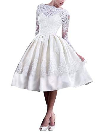 DressyMe Womens Vogue Short Lace Wedding Dress Prom Ball Gown Long Sleeves at Amazon Womens Clothing store: