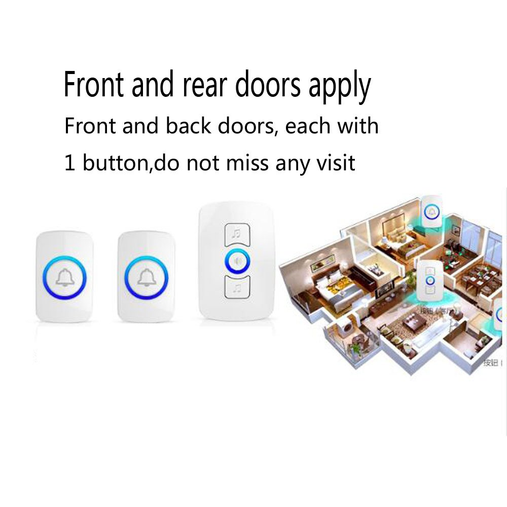 NQFL Wireless Doorbell Call Mobile Old Caller Home Voice Intercom Long-distance Call,White1Receiver+2Button by NQFL (Image #8)