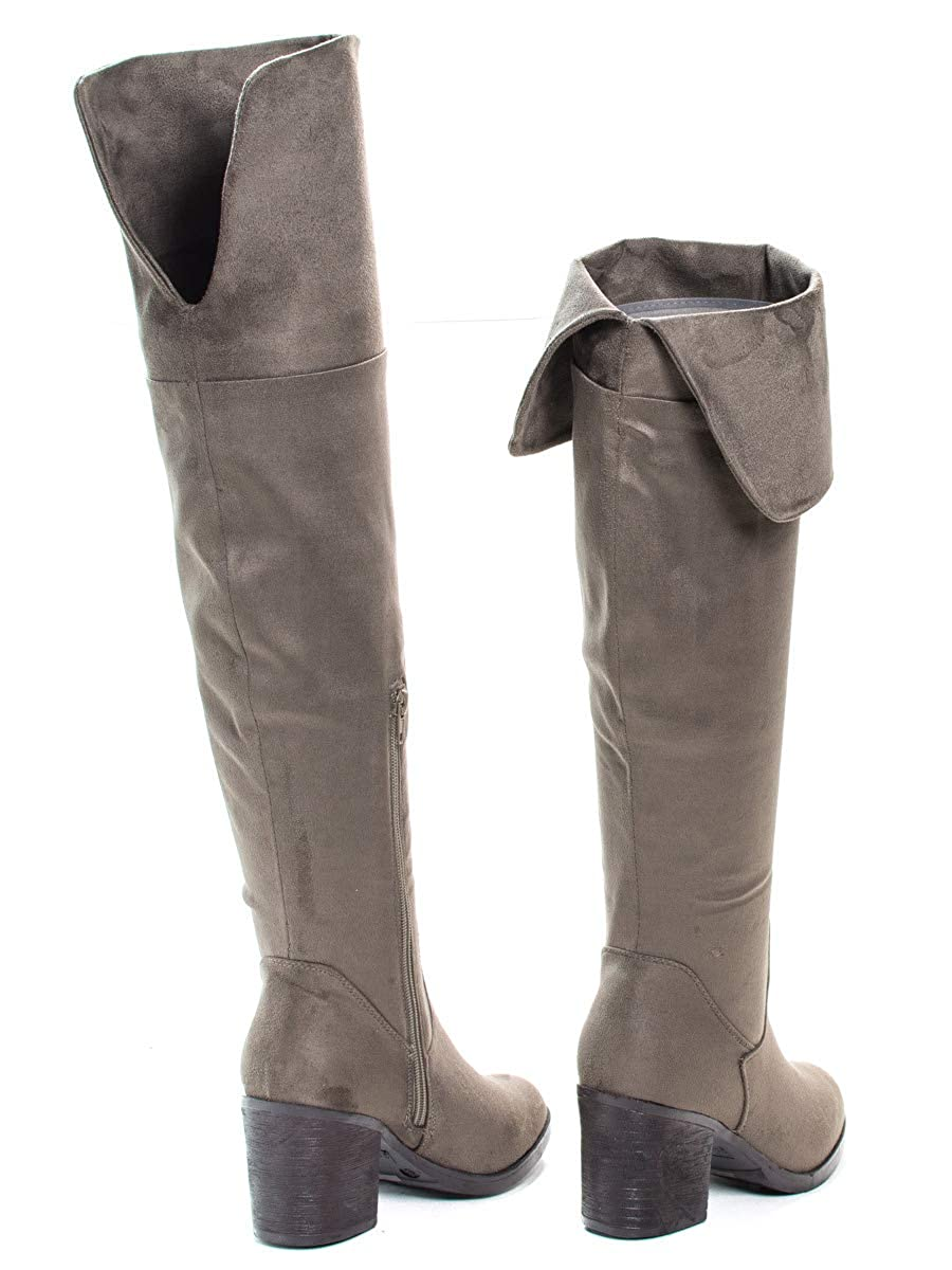 Sullys Foldable Over Knee Dress Boots w Faux Fur Lining /& Stack Block Heel