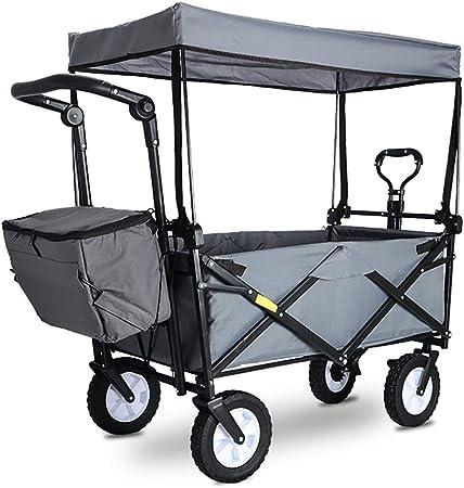 Carrito plegable carro para picnic Carrito de carro plegable para jardín Carro de servicio pesado con dosel Carro de compras portátil multifunción para Al aire libre Cámping Pescar Carro con 4 ruedas,: