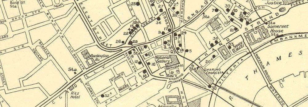 West End Theatres London Map.West End Theatres Covent Garden Shaftesbury Avenue C 1930 Vintage