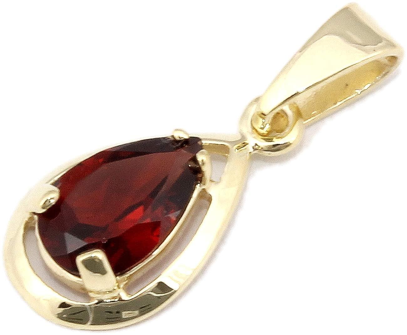 Anhänger Gold 333 mit echt Granat Tropfen Gelbgold 8 Karat für Damen