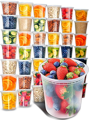 40pk 32oz Plastic Containers with Lids - Freezer Containers Deli Containers with...
