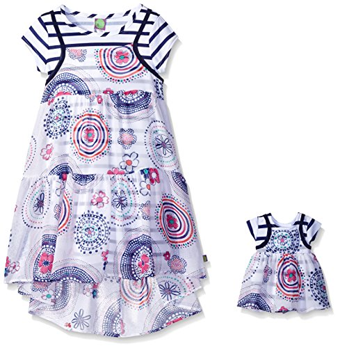 irls' Short Sleeve Knit Stripe Dress with Printed Overlay, White/Navy, 5 ()