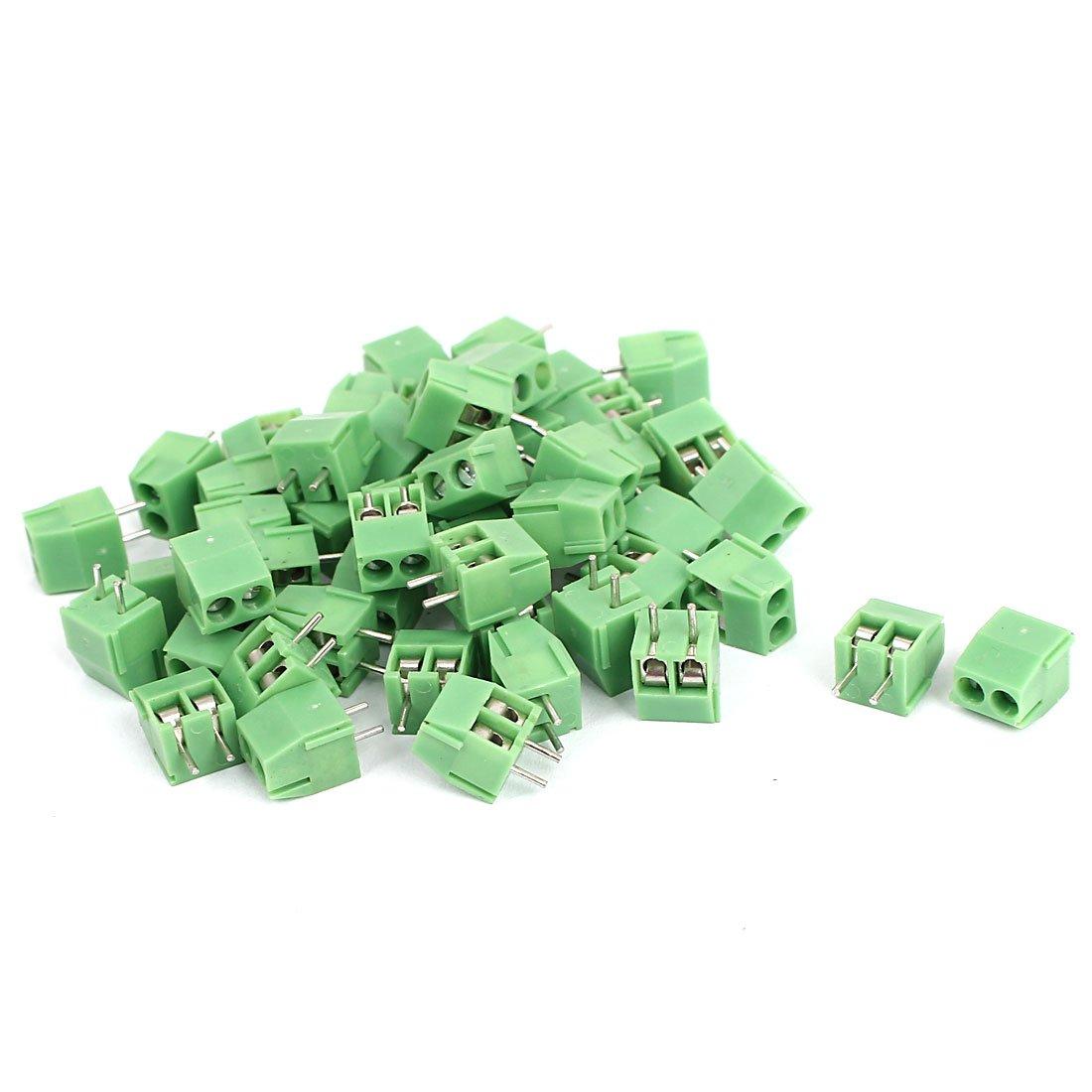 uxcell 50 Pcs 2 Pin Screw Terminal Block 3.5mm Pitch Panel PCB Mount Green