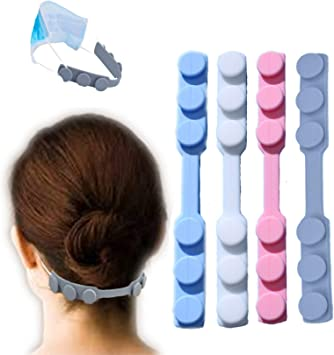 Anti-Slip Comfortable Hook Relieve Pressure and Pain for Ear Easecube Silicon Rubber Mask Extension Hook Protect from Wearing Long-time Mask for Nurse Dust-Workers Food-Workers Men Women Kids(4pcs)