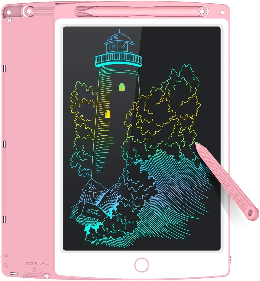 Tecboss LCD Writing Tablet Colorful, Erasable Electronic Drawing Pad Doodle Board, Gift for Kids Adults Home School Office (Pink, 8.5 inch)