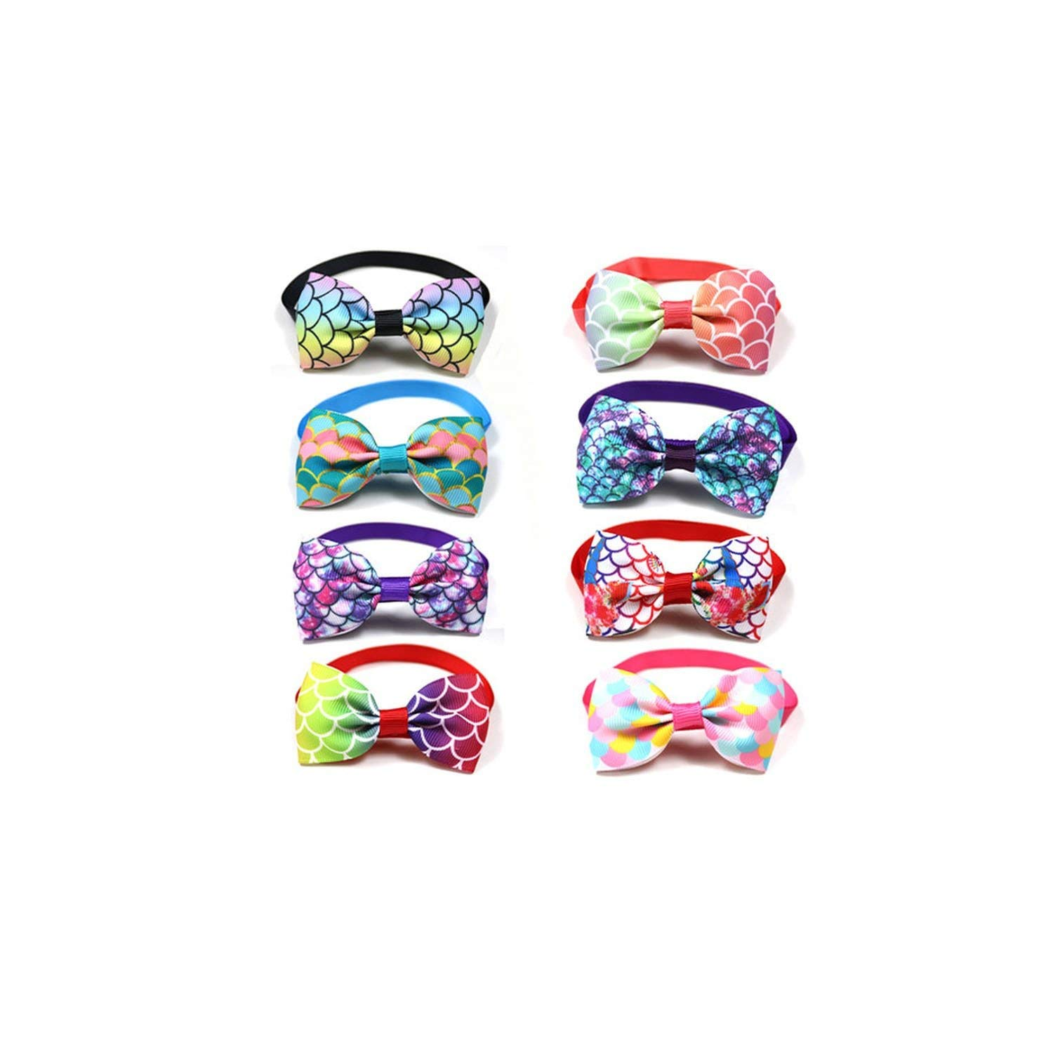 New 100pcs Pet Dog Accessories Pet Dog Cat Bowties Three-Dimensional Fish Scale Style Puppy Cat Ties Pet Cat Grooming Supplies,Mix Colour