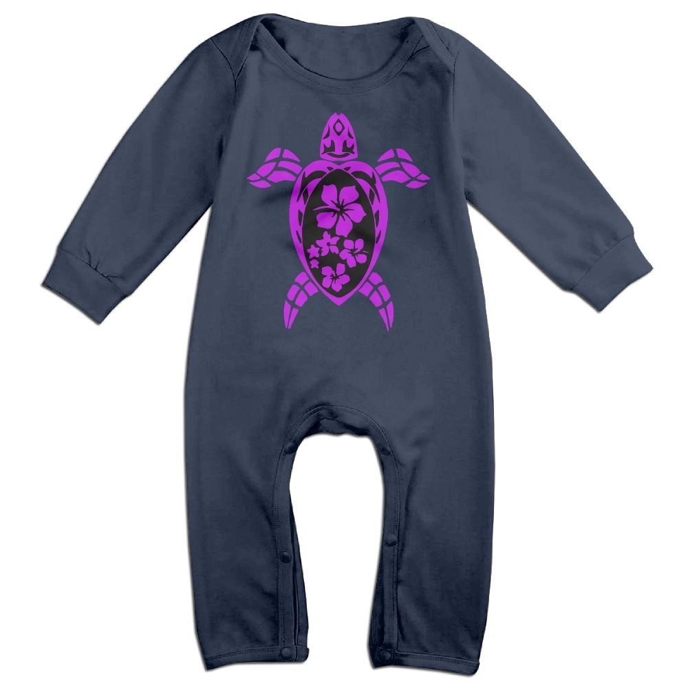 Mri-le1 Toddler Baby Boy Girl Jumpsuit Tribal Turtle with Hibiscus Flowers Toddler Jumpsuit