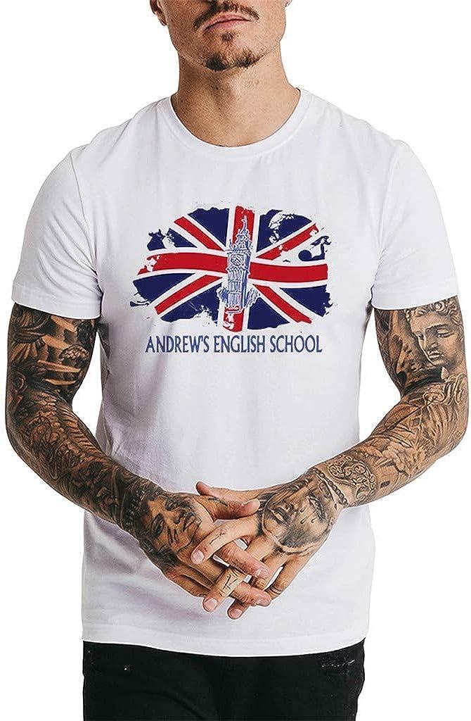 IHGTZS Men New Summer Printed Short Casual O-Neck Short Sleeve Tops Blouse T-Shirt