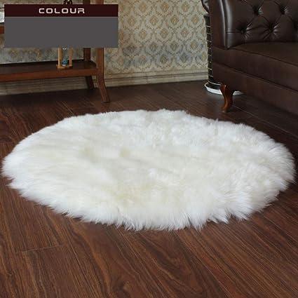 Amazon.com: DUAN Sheepskin Rug Round Pure Wool Carpet Yoga ...