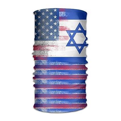 Shower Curtain Pillow Israeli American Flag Microfiber Headwear Multifunctional Bandana Facemask Seamless Scarf Mufflers By Outdoor