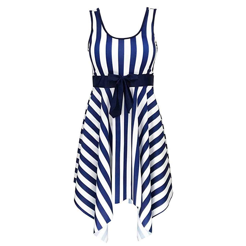 Kexdaaf Beach Swimwear Dress,Womens Swimming Stripe Swimsuit Swimwear Push Up Beach Bikini Sets,Plus-Size Maternity Clothing,Blue,2XL