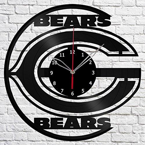 Vinyl Clock Chicago Bears Vinyl Record Wall Clock Fan Art Handmade Decor Original Gift Unique Decorative Black 12