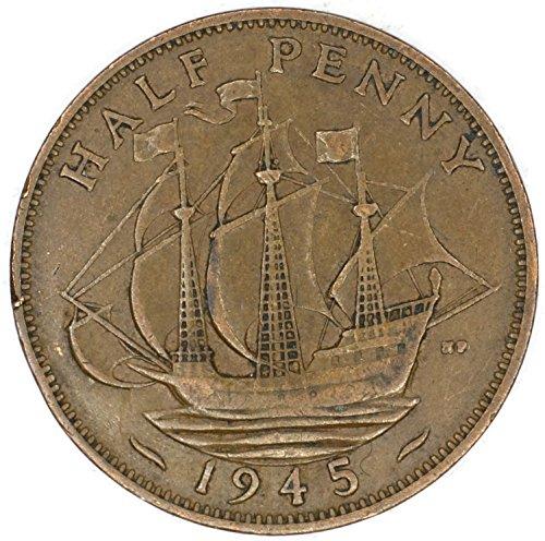 1945 UK Great Britain George VI Bronze Halfpenny Good