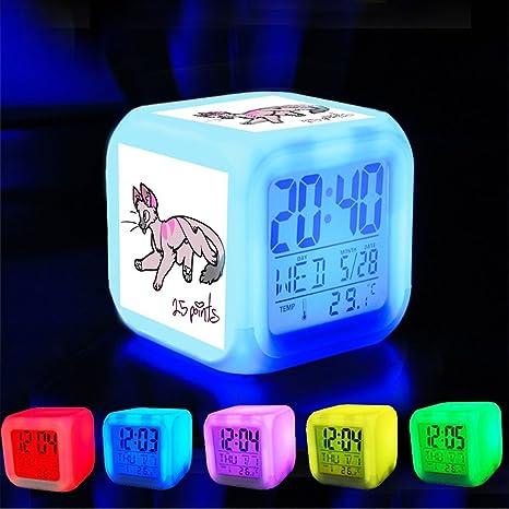 Dormitorio con datos de encendido reloj despertador 7 cambio de color LED y pantalla de temperatura