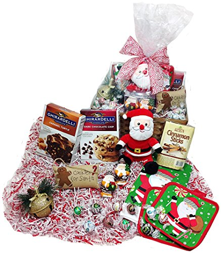 Christmas Kitchen Baking Gift Basket - Lindt Gourmet Truffles, Ghirardelli Cookie & Brownie Mixes, Plush Santa, Towel, Potholders, Tree Ornament, Door Hanger and Salt & Pepper Shakers