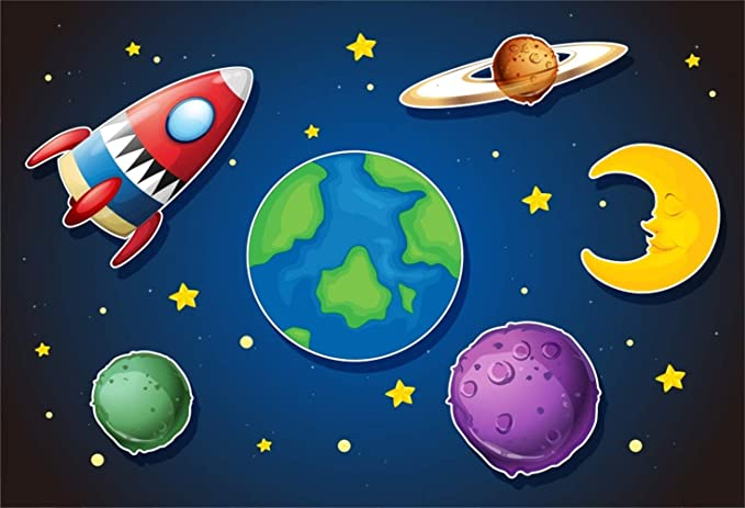 Laeacco Future Technology Theme 7x5ft Cartoon Toy Backdrop Abstract UFO Twinkle Stars White Concrete Wallpaper Shabby Marble Floor Photography Background Boys Kids Photo Studio Props