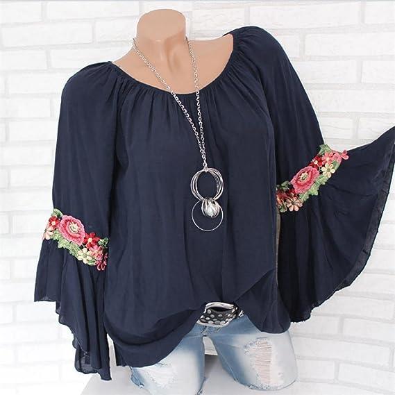 Blusa Bordada con Apliques para Mujer, Covermason Women Plus Size Long Sleeve Embroidered Applique Blouse Pullover Tops Shirt: Amazon.es: Ropa y accesorios