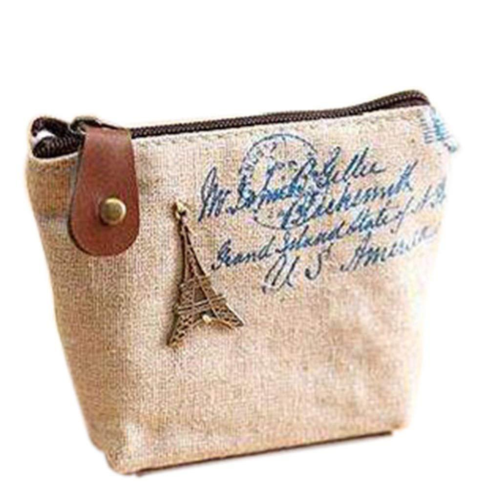 Nostalgic Wallet Retro Style Tower Coin Bag Chic Eiffel Tower Purse Canvas Handbag Aszune