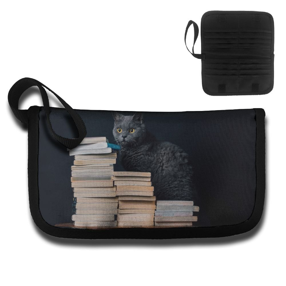 Gili Love Reading Black Cat Travel Passport & Document Organizer Zipper Case