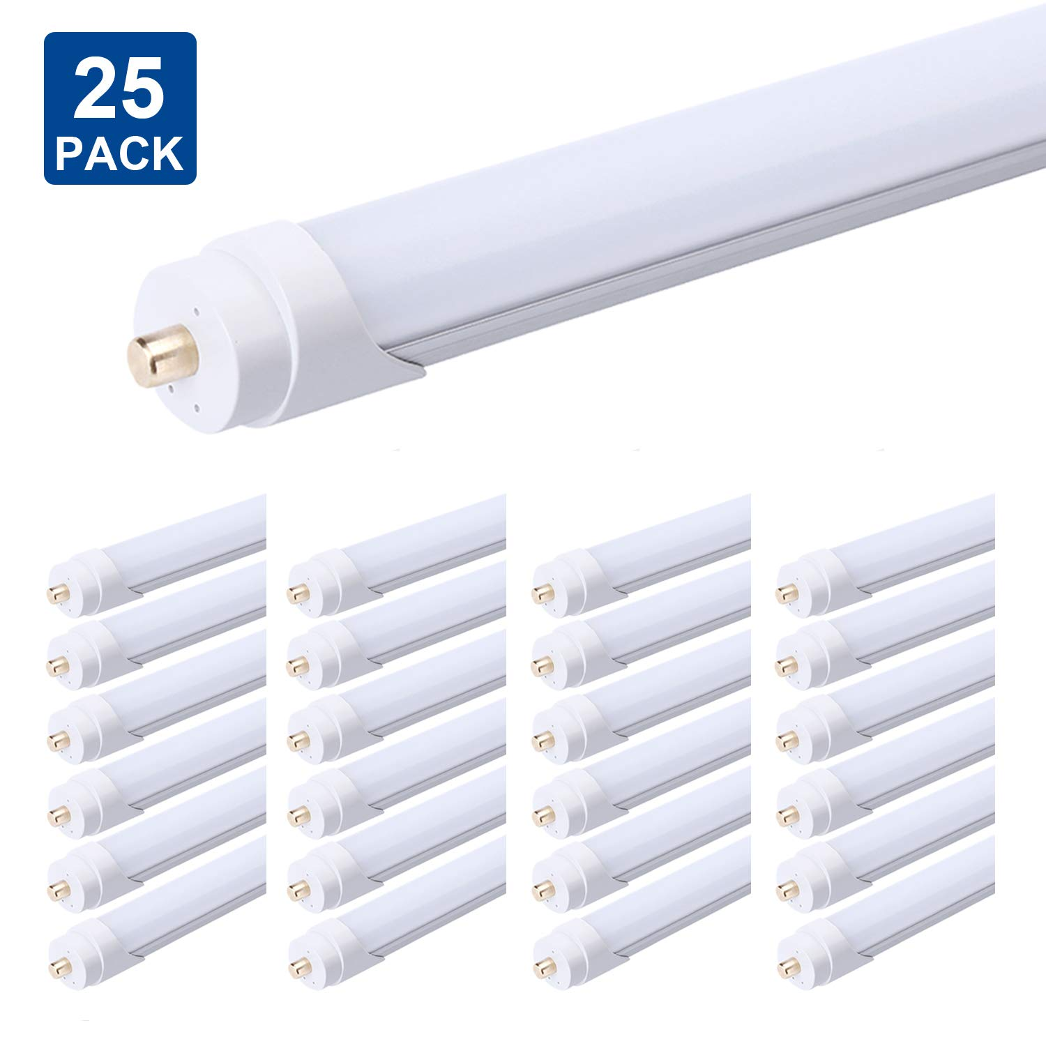 FALANFA Single Pin T8 96'' 8ft LED Tube 45W, 8' LED Fluorescent Tube Replacement,AC 85V 277V Input, 6000K Bright White,4500LM Frosted Lens Cover Super Bright 25-Pack