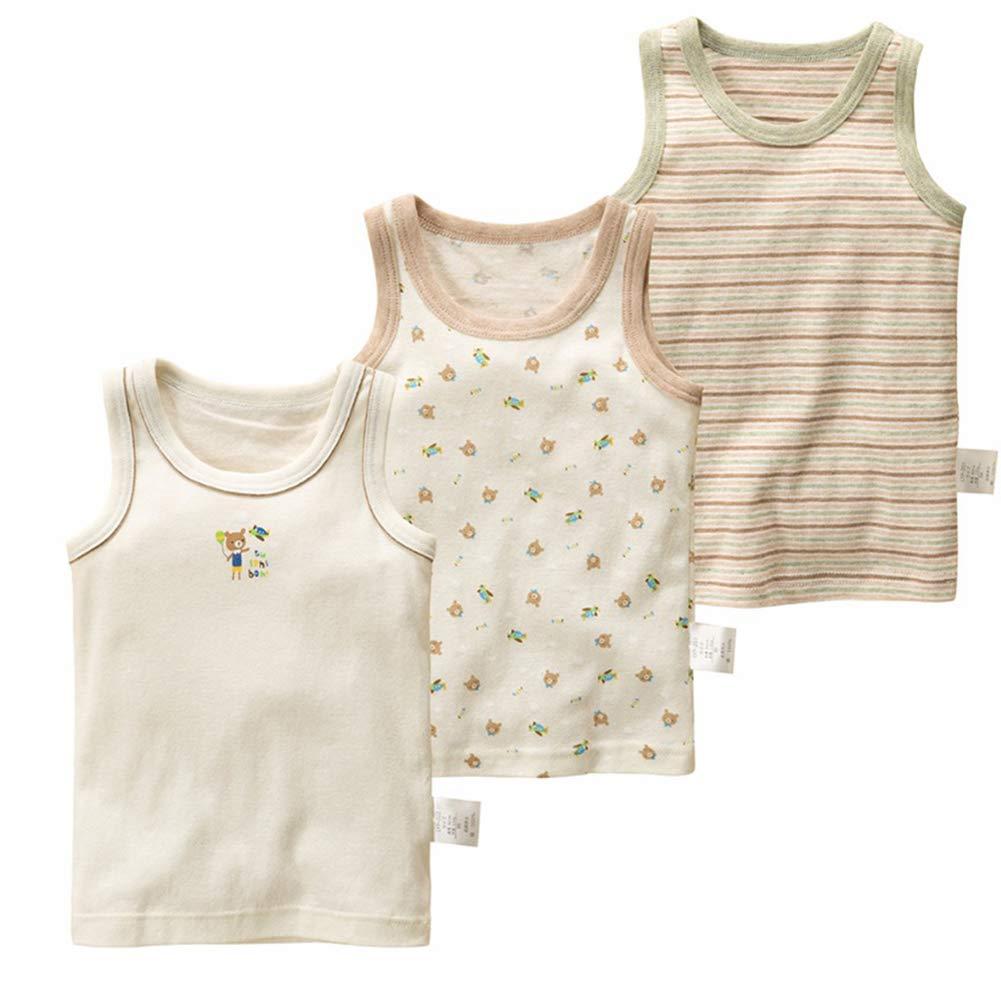 JIAOAO Boys Cotton Colorful Vest T-Shirts, Boys Sleeveless Summer Children Boy Vests Clothes Kids Tanks 3Pcs,A,6T
