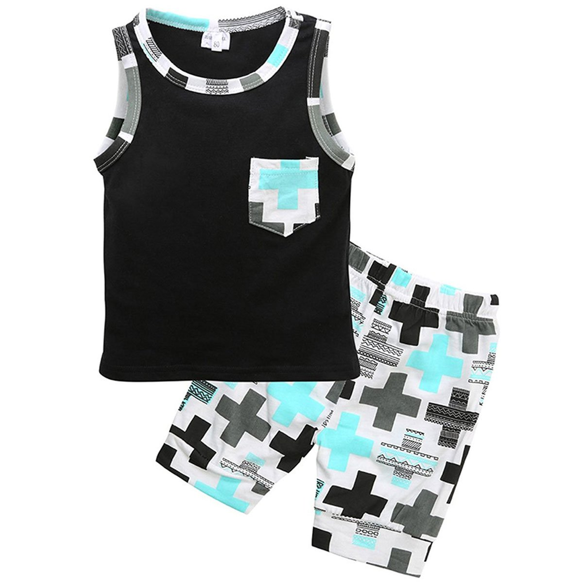 Toddler Baby Boys 2Pcs Summer Casual Clothes Set Plaid Pocket Vest Tops +Shorts