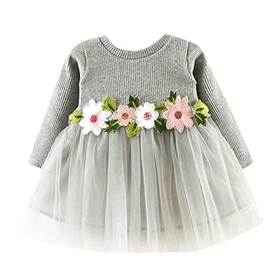 0ff26f239 LQZ Cute Toddler Baby Girl Floral Tutu Long Sleeve Princess Dress ...
