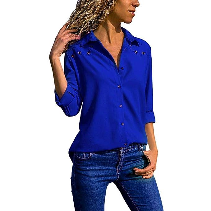 Yvelands Blusas para Mujer Moda 2041, Camisa de Manga Larga con Cuello en V Color