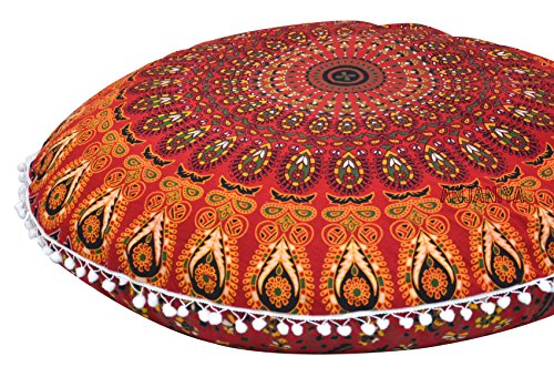 "ANJANIYA 32"" Mandala Bohemian Yoga Meditation Floor Pillow Comfortable Home Car Bed Sofa Cushion Cover Couch Seating Large Zipped Throw Hippie Decorative Ottoman Boho Indian (Red)"