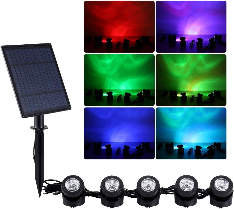WisHomee Solar RGB Spotlight Outdoor, 5 in 1 RGB LED Landscape Lights, Dusk to Dawn Spotlight for Garden, Patio, Tree, Lawn (Color Change + Stay on)