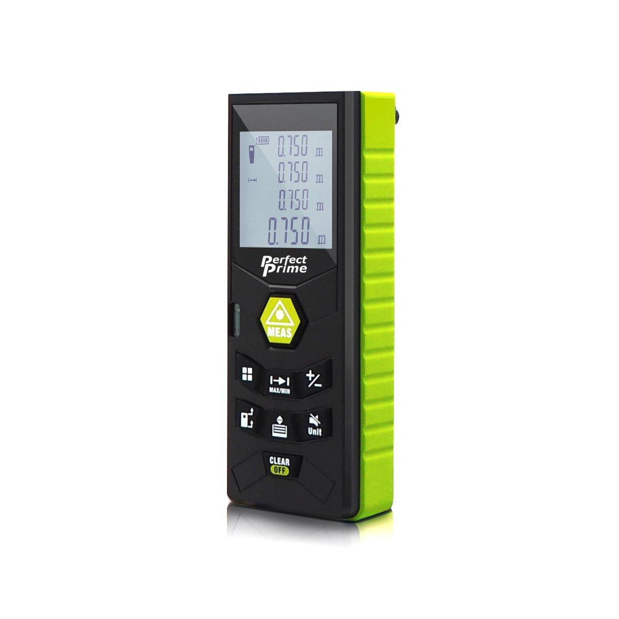 DAXGD Tel/émetro l/áser digital port/átil 40m con nivel de burbuja Rango de medici/ón de alta precisi/ón y gran pantalla LCD retroiluminada para medir distancia /área y volumen
