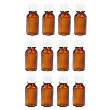 D DOLITY 12 Piezas Frascos de vidrio con Goteros Mini Botellas Cosméticos Maquillaje - Ámbar 15ml