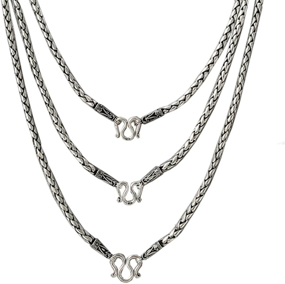 Brand New 925 Stering Silver Heavy Bali Braid Black Oxidized 4 mm x 22 inch Womens Code : 2AA14 Mens Necklace Silver Jewelry Thailand