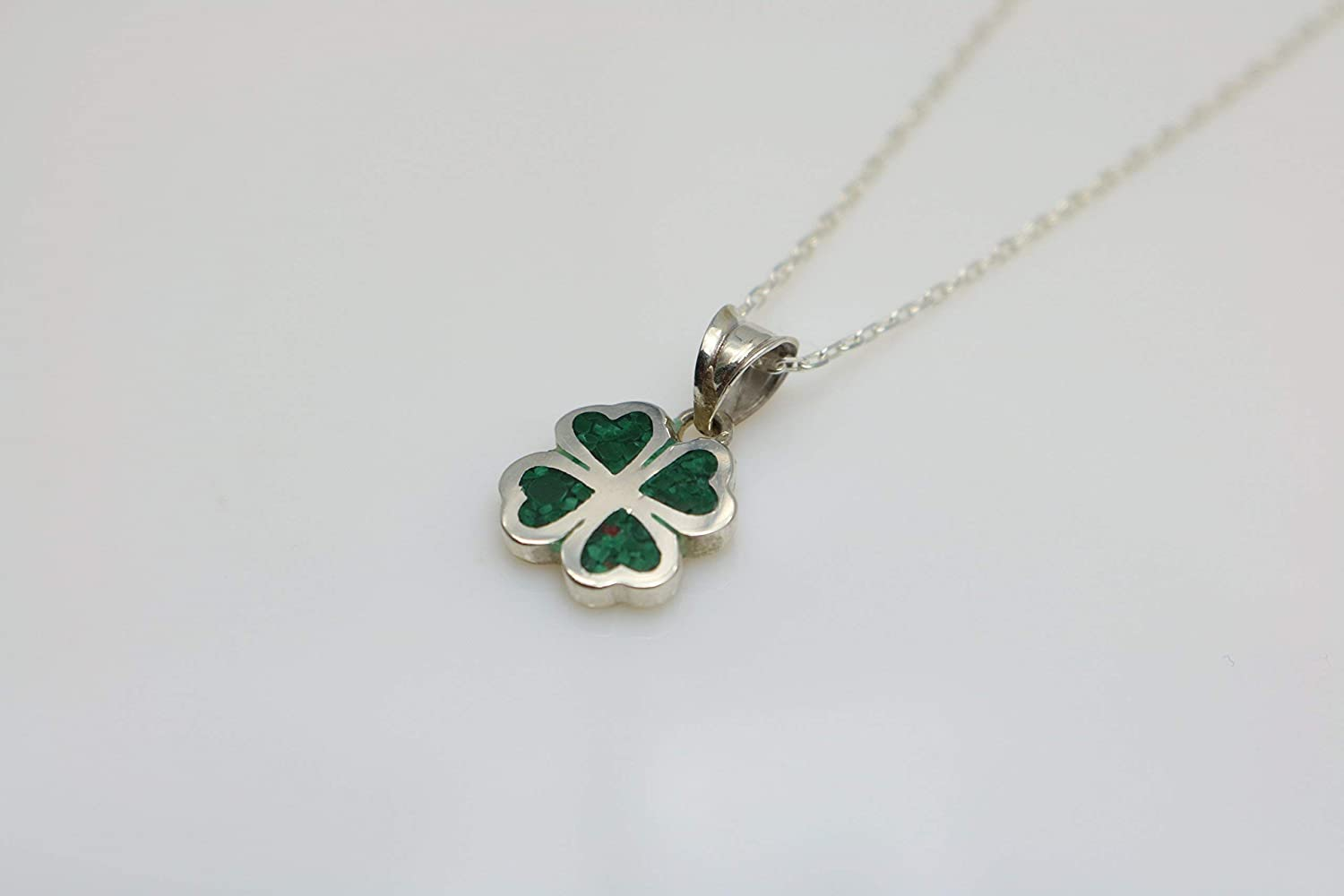 Four-leaf Malachite Gemstone Mosaic Sterling Silver Necklace 16.1 to 17.7 inches Adjustable Chain Semi Precious Stone