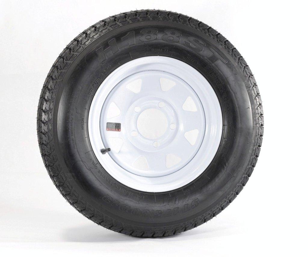 eCustomRim Eco Trailer Tire & Rim B78-13 13' ST 13' 17580D13 5 Lug Hole Wheel White Spoke