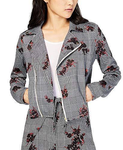 (Material Girl Juniors' Printed Moto Jacket (Glen Plaid Floral, M))