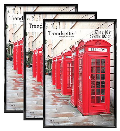 MCS Trendsetter Poster Frame, 27 by 40-Inch, Black, 3-Pack -
