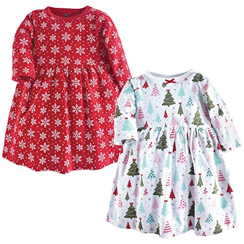 Hudson Baby Baby Girls' Cotton Dress, Sparkle Trees 2Pk, 3 Toddler