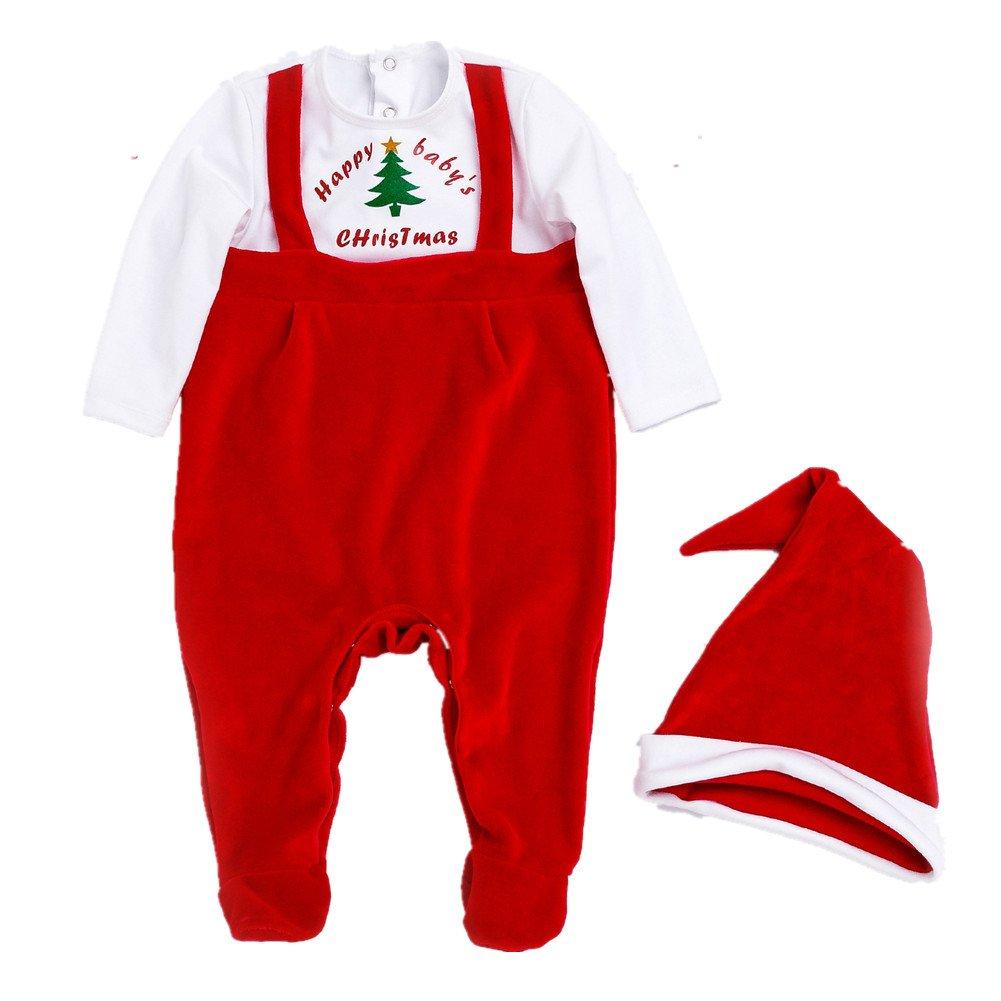 Bom Bom Baby Boys Girls Christmas Santa Claus Footie Pajama with Hat