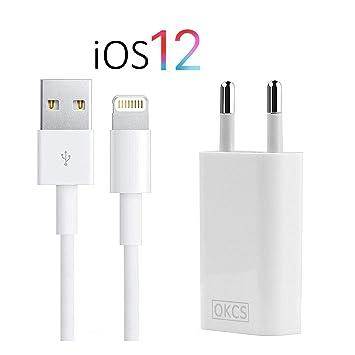 OKCS - Cargador para iPhone (USB de 8 Pines, 1 m, Incluye ...