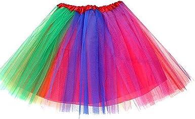 Ruiuzi Tutu Falda de Mujer Falda de Tul 50s Short Ballet 3 Capas ...