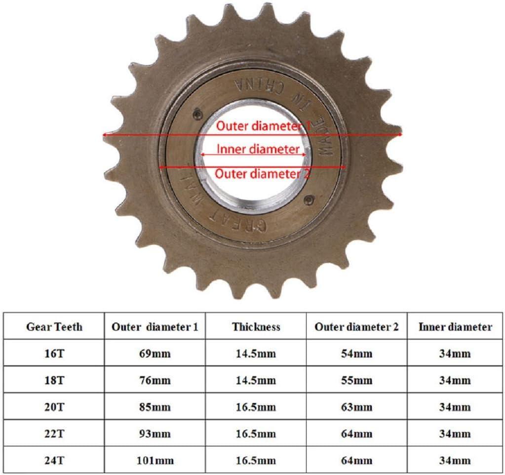16-23T BMX Bike Sprocket Single Speed Bicycle 6061 Al Alloy Freewheel Flywheel
