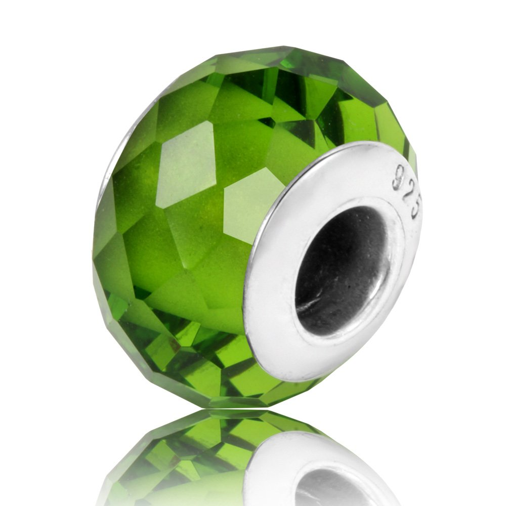 TCharm Genuine Murano Glass 925 Silver Core Faceted Fascinating Iridescence Pure Colour Charms Bead (Green)