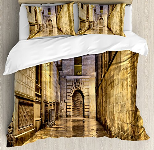 Gothic Duvet Cover Set by Ambesonne, Dark Stone Ancient Street Spain European Horror Dark Evil Renaissance Medieval Art Photo, 3 Piece Bedding Set with Pillow Shams, Queen / Full, Beige by Ambesonne
