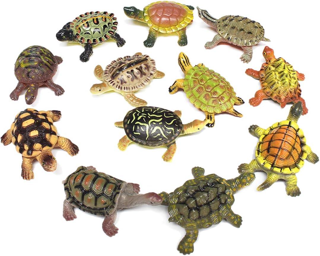 PHYNEDI Caja de 12 Animales, Juguetes de Tortuga de Plástico Modelo Juguete para Niños