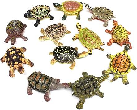 PHYNEDI Caja de 12 Animales, Juguetes de Tortuga de Plástico ...